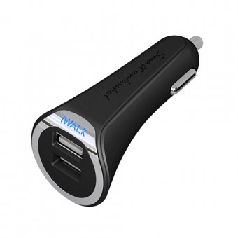 iWalk Dolphin Duo, 2x USB Car Charger, Black